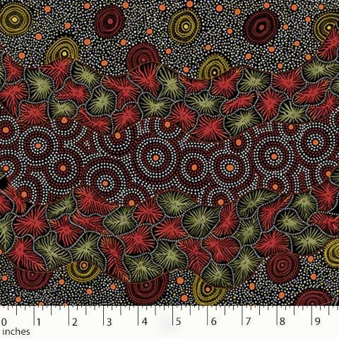 Australian Aboriginal quilting cotton, Wild Seed and Watherhole, Black, M and S Textiles