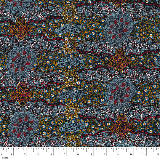 Australian Aboriginal quilting cotton, Lillup Dreaming, Ash, M and S Textiles