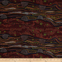 Load image into Gallery viewer, Australian Aboriginal quilting cotton, Sandy Creek, Red, M and S Textiles