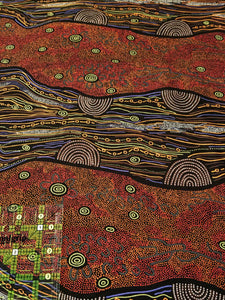 Australian Aboriginal quilting cotton, Sandy Creek, Red, M and S Textiles