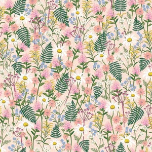 Rifle Paper Co., Wildwood, Wildflowers, Pink - Cotton and Steel - 100% cotton quilting fabric