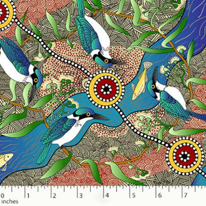 Australian Aboriginal quilting cotton, Kingfisher Camp, Ecru, M and S Textiles