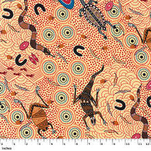 Load image into Gallery viewer, Australian Aboriginal quilting cotton, Around the Waterhole, Ecru, M and S Textiles