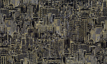 Load image into Gallery viewer, City, Urban Landscape Sketch, Black Metallic, Foust, 100% cotton quilting fabric