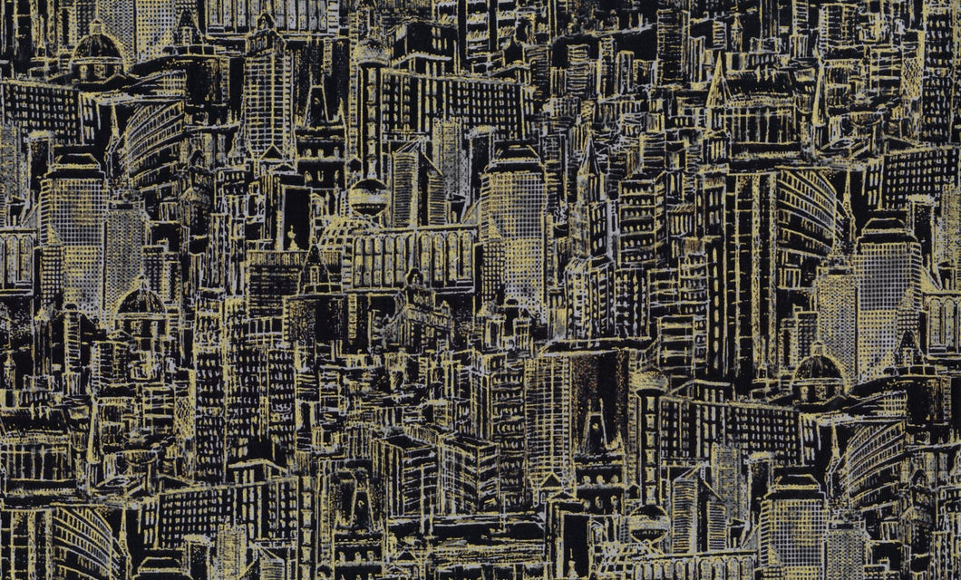 City, Urban Landscape Sketch, Black Metallic, Foust, 100% cotton quilting fabric