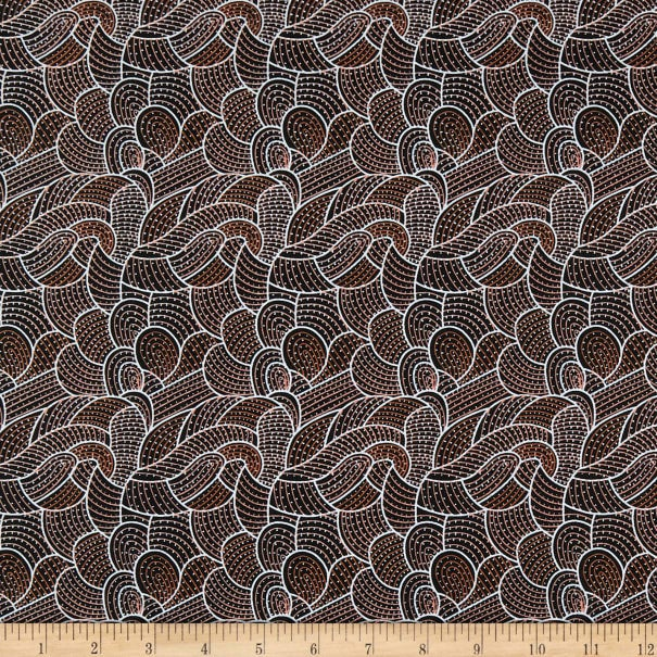 Australian Aboriginal quilting cotton, Body Painting 2, Brown, M and S Textiles