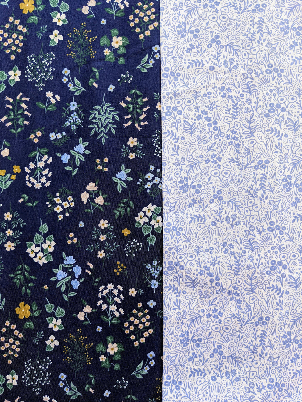 2 Fabric Bundle - Rifle Paper Co., Strawberry Fields/Periwinkle - You Choose the Size