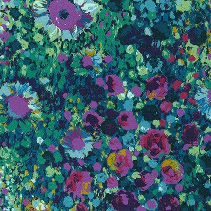 "Painterly Petals, Navy, SCALE= 6"" photo, Robert Kaufman - 100% cotton quilting fabric"