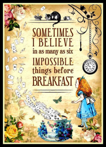 Alice in Wonderland Quote Impossible Things Poster Fridge Magnet 6x8 Large