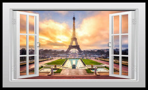 Eiffel Tower Window View Paris Fridge Magnet 6x10 Large