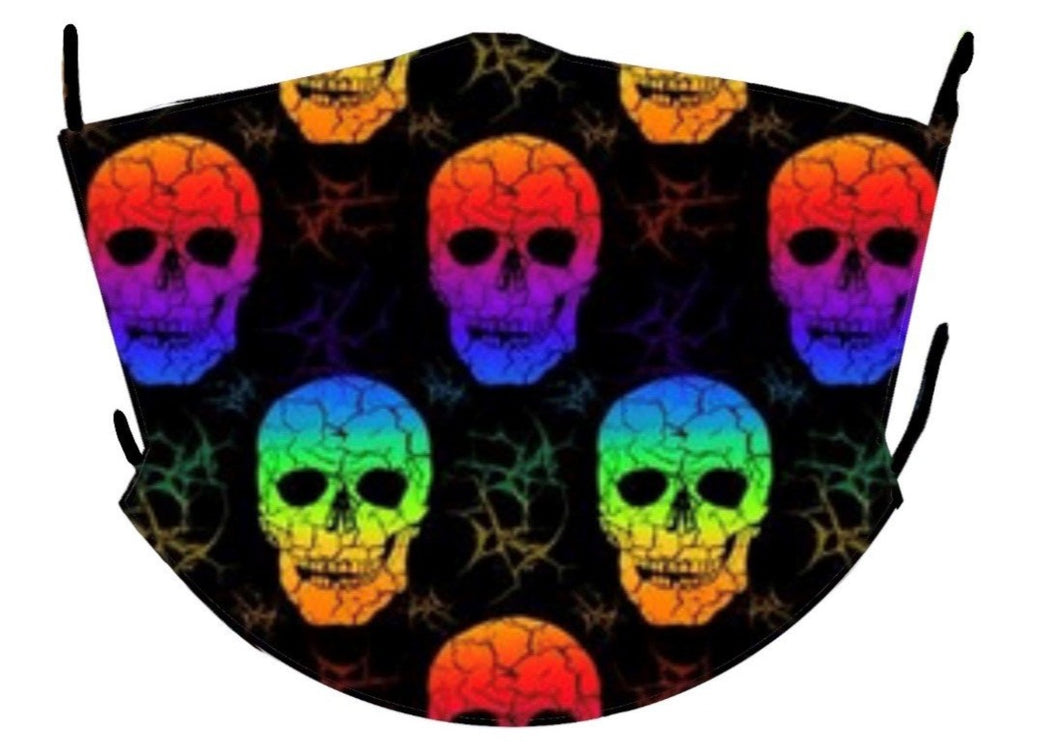 rainbow skulls small mask