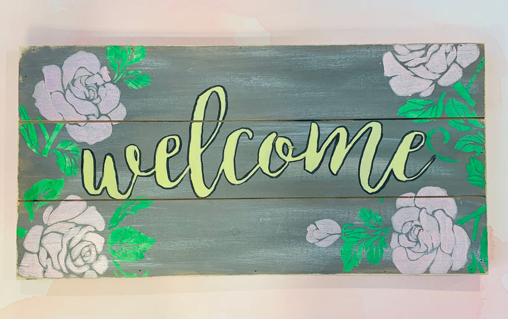 Pallet Board Welcome with Roses- Large