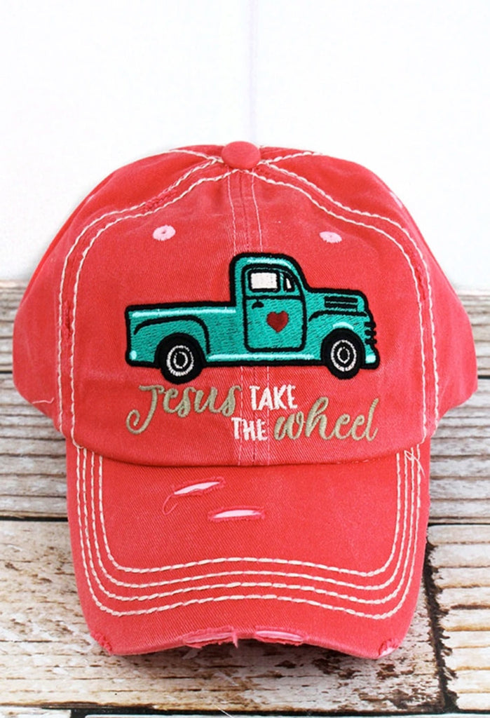 Jesus Take the Wheel Distressed Baseball Cap (4 COLORS)