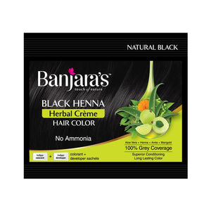 Load image into Gallery viewer, Banjara's Black Henna Herbal Creme Hair Color (20g+20ml)