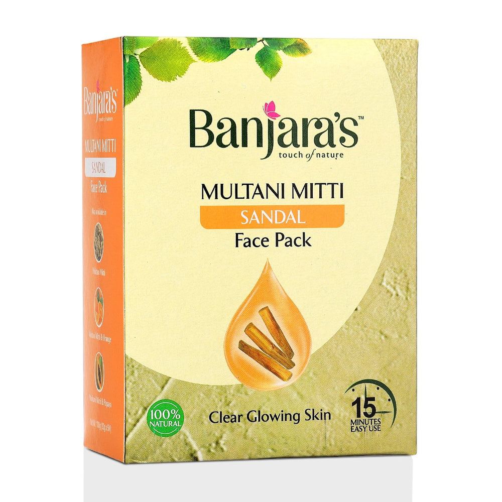 Load image into Gallery viewer, Banjara's Multani Mitti + Sandal Face Pack Powder 100gms (5*20gms)