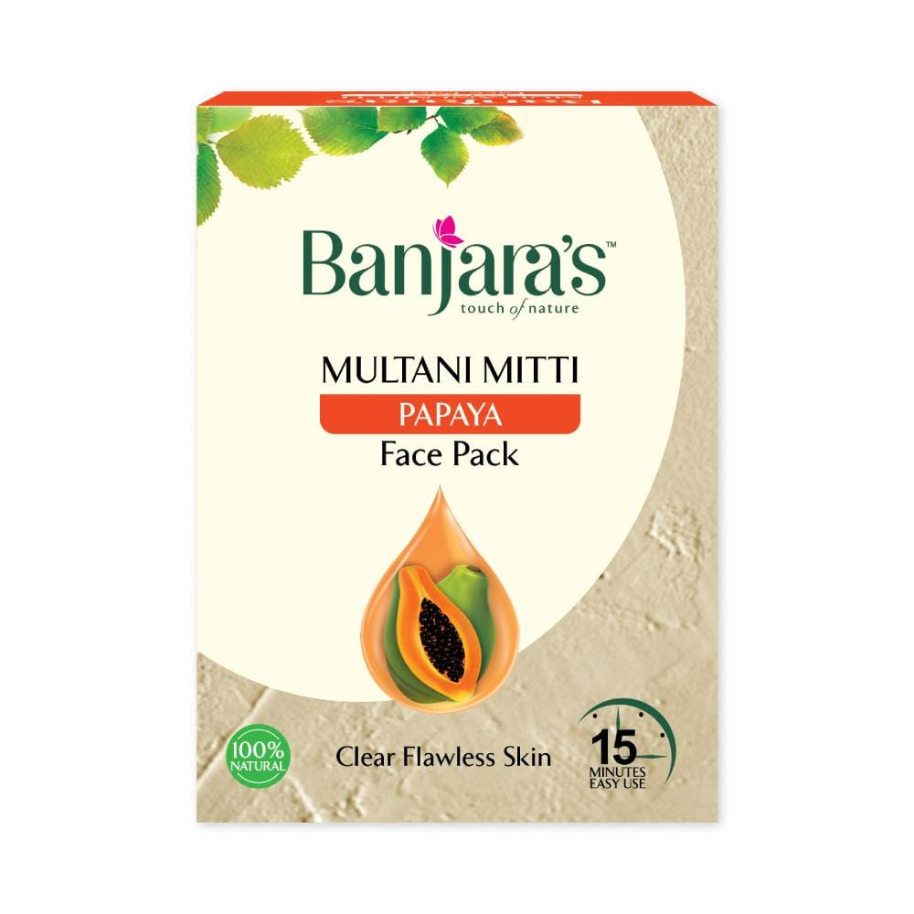 Banjara's Multani Mitti + Papaya Face Pack Powder 100gms (5*20gms)