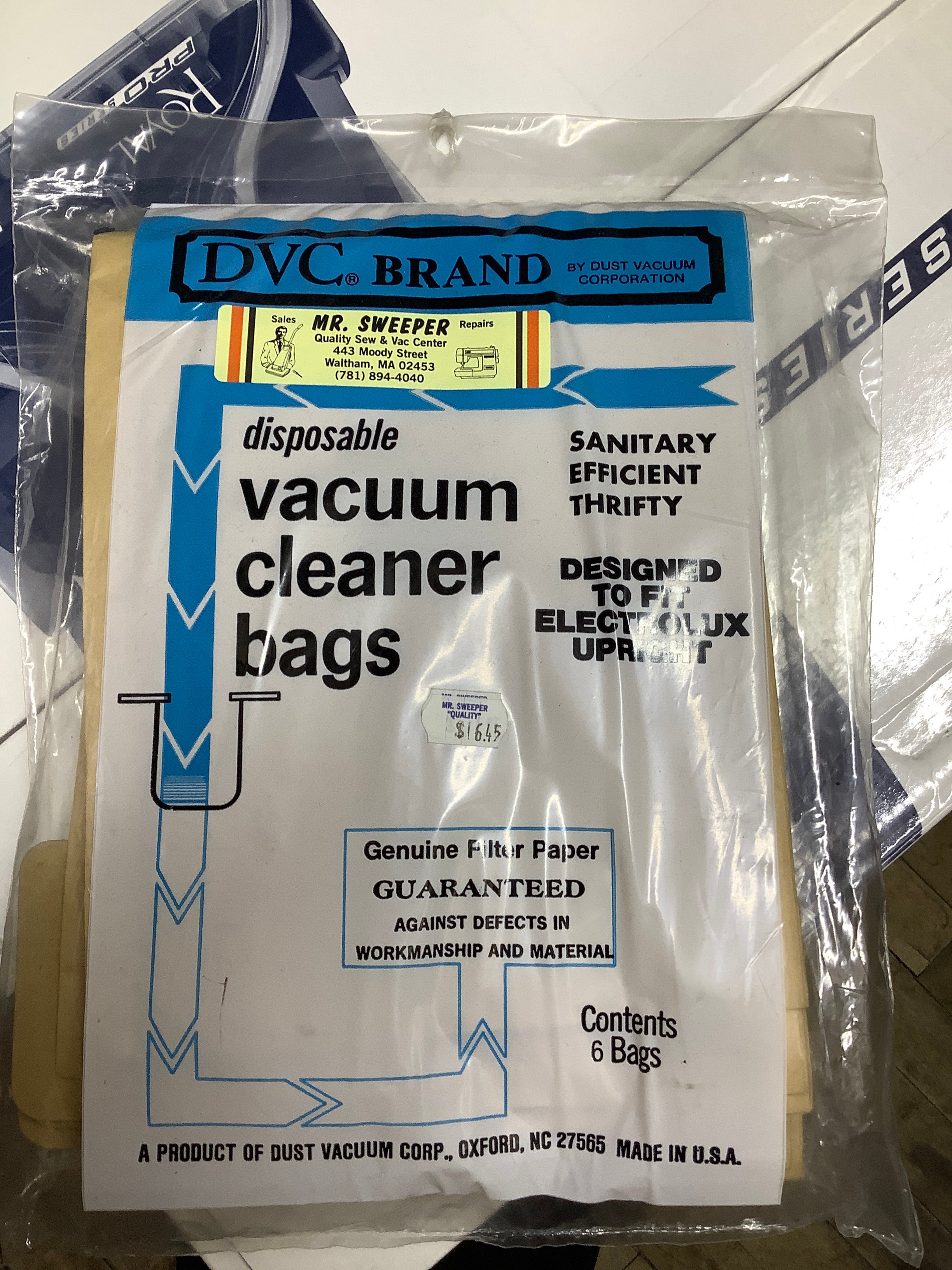 DVC Brand designed to fit Electrolux upright 6 bags