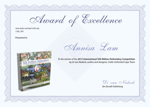 Award of Excellence from 2012 International Silk Ribbon Embroidery Competition
