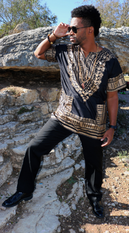 DASHIKI- Unisex Traditional Dashiki Print (BLACK & BRONZE/GOLD)Looks gold