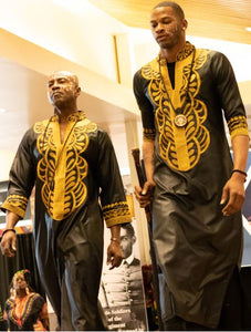 UNISEX KAFTAN- West African Formal (Long Unisex Kaftan)-BLACK/GOLD