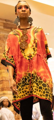 FEMALE DASHIKI/TOP- Design Onesize -  RED ANIMAL PRINT