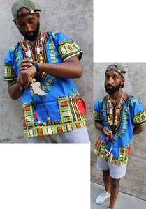 DASHIKI- Unisex Traditional Dashiki (BLUE)