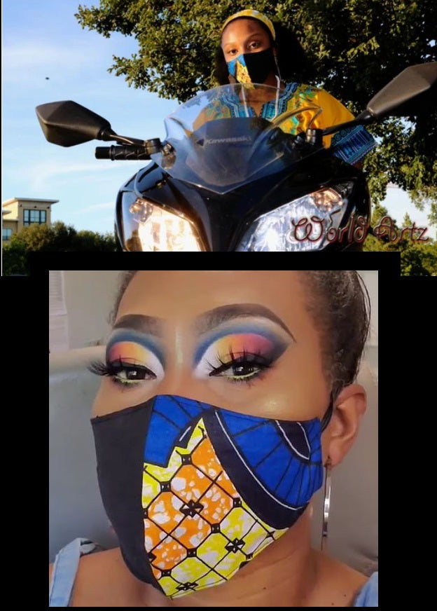 FACE MASK  - African Print (Yellow/Blue)