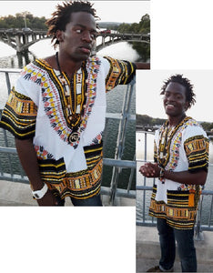 DASHIKI- Unisex Traditional Dashiki (White&Gold)