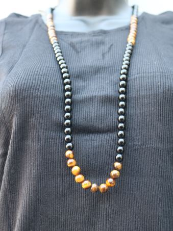 NECKLACE- Lava Stone and Onyx Unisex Necklaces-unisex