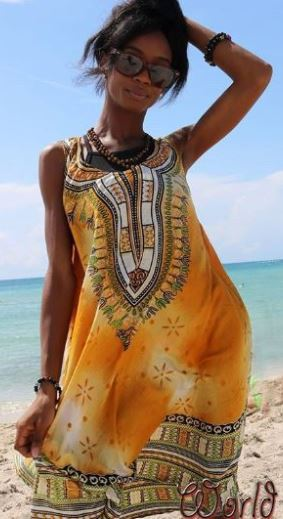 SUN DRESS- Sleeveless Dashiki Design Tie Dye (OTHER COLORS)