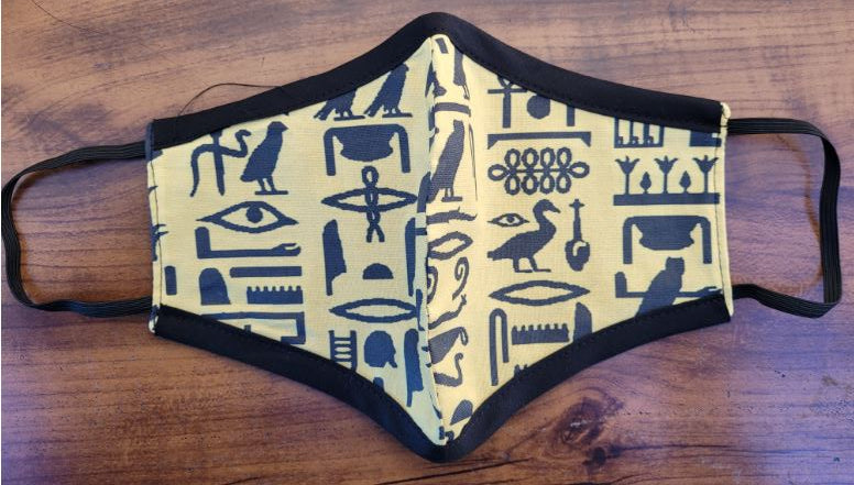 FACE MASK- Eyptian Hieroglyphs with Black Border