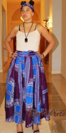 ELASTIC SKIRTS- Dashiki Design - Purple