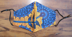 FACE MASK-  West African Pattern Blue-ADJUSTABLE