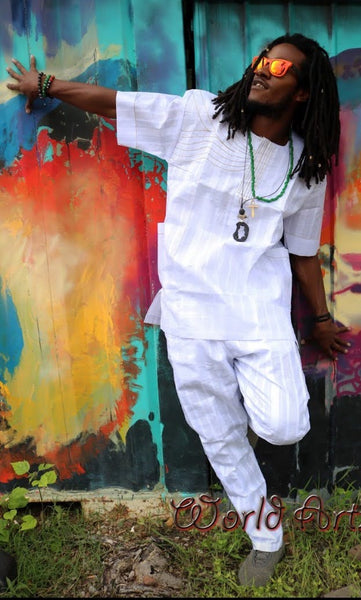 FORMAL SET- West African Short Sleeve Formal Full Set - WHITE