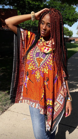 FEMALE DASHIKI/TOPS- Design w/ Images Onesize (OTHER COLORS)