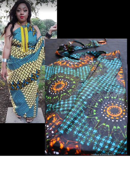 WRAP SKIRT- Ankara Wrap Dress-REGULAR SIZE(OTHER COLORS) - by Dingilo & Elizabeth