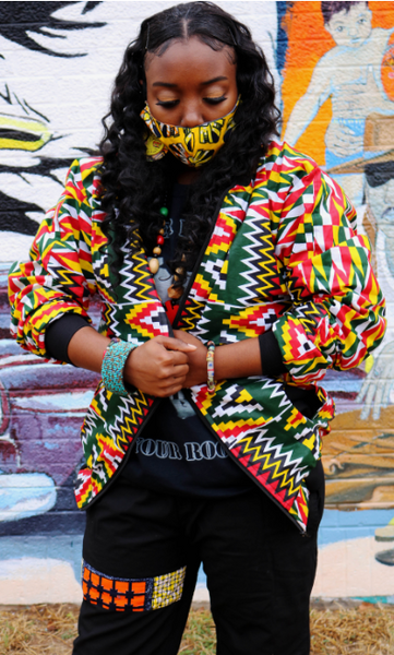 JACKETS -Kente Cloth Design Bomber Jacket