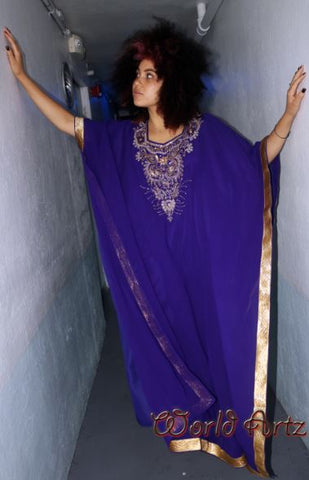 FEMALE KAFTAN- (Light Polyester) PURPLE AND GOLD