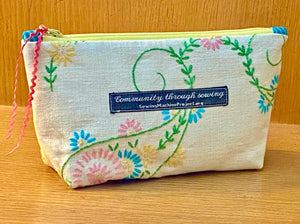 Zipper Bag, Repurposed from Hand-Embroidered Tablecloth