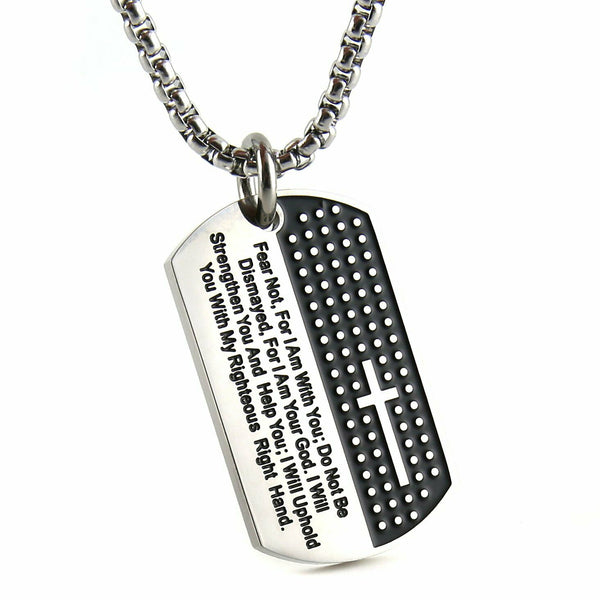 Isaiah 41:10 Cross Dog Tag Necklace