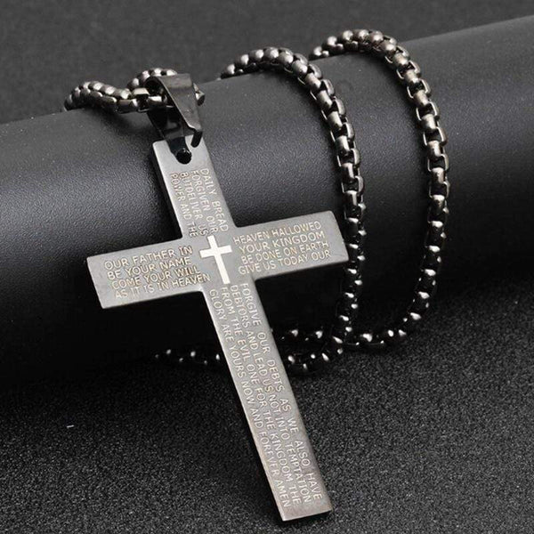 Silver Cross Pendant Bible Necklace Black Stainless Steel - Used by God Clothing