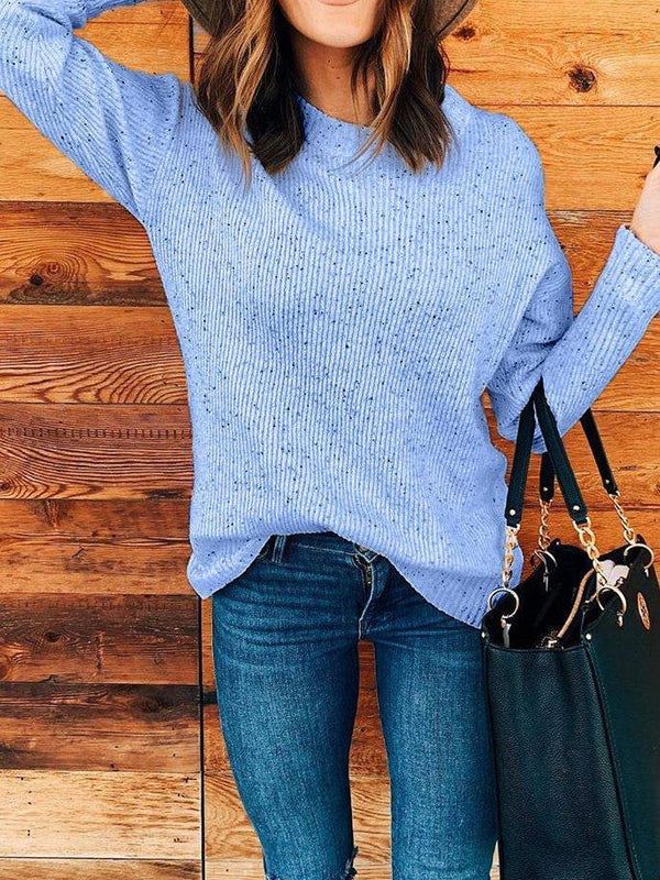 Plus size Crew Neck Knitted Long Sleeve Sweater