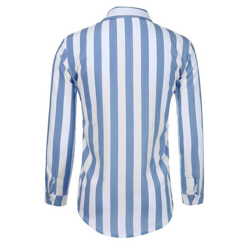 Casual Stripe Turndown Collar Shirt