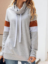 Color Block Mid-Length Long Sleeve Hoodie