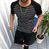Men's Fashion Urban Style Striped Raglan Sleeve T-Shirt