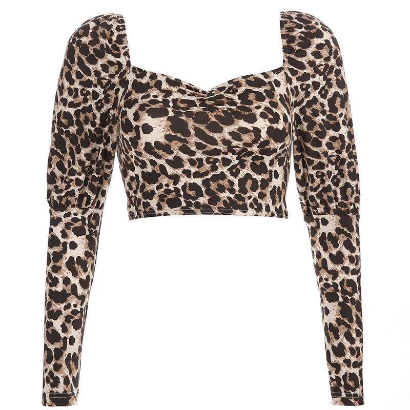 Women's fashion short cropped leopard long-sleeved T-shirt