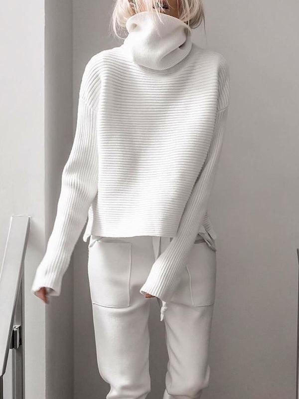 Plus size knitting Turtleneck Casual Shirts & Tops