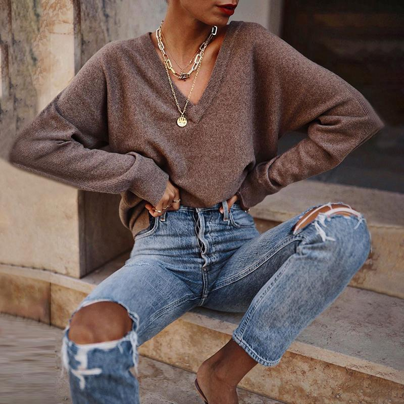 Women's Casual V-Neck Long Sleeve Solid Color Loose Sweater