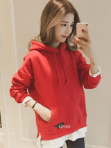 Double-Layer Patchwork Loose Fit Hoodie Women's Autumn Tops