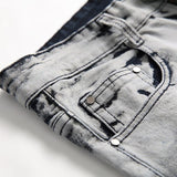 Street Stitching Camouflage Stretch Straight Jeans